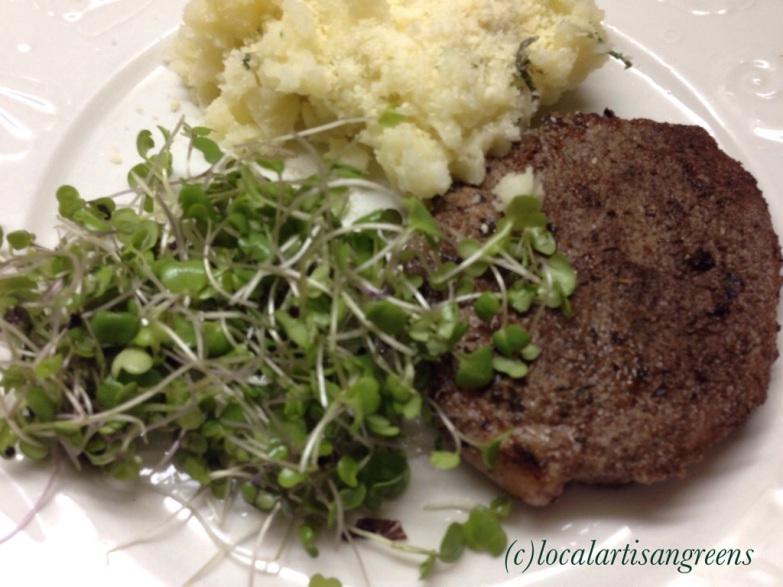 A simple quick dinner. Mashed Potatoes, Steak and Microgreens at the side