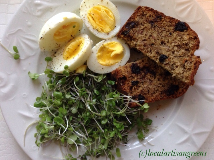Breakfast of Eggs, Banana Bread and our Microgreens at the side