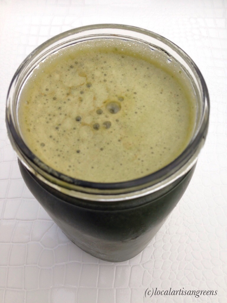 We love juicing at home...this green concoction has cucumber, spinach, lettuce, kale, carrots and little ginger